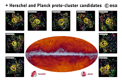 The Planck all-sky observed at 545 GHz (bottom), with black dots indicating the location of our high-redshift candidates, observed by Herschel. The images around show Herschel/SPIRE observations, where contours represent the galaxy density. Dole, Guéry, Hurier, ESA, Planck Collab., HFI  consotrium, IAS, CNES, Univ. Paris-Sud, CNRS